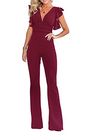 3e838228cc29 Amazon.com  Fixmatti Women Fashion V Ruffles Sleeve High Waisted Flare Romper  Jumpsuit  Clothing