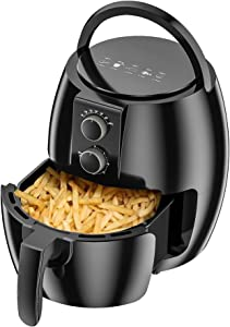 Oriental eLife Air Fryer, 4.7 Quart Air Fryers Oven for Roasting Baking Grilling with Presets & Adjustable Temperature Oven Oil Free Nonstick Detachable Dishwasher Safe Basket Rapid Air Frying,Black