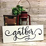 Gather Wood Sign, Handmade Farmhouse Sign, 8''x20'' Rustic Home Wall Decor, Your Choice Of Colors