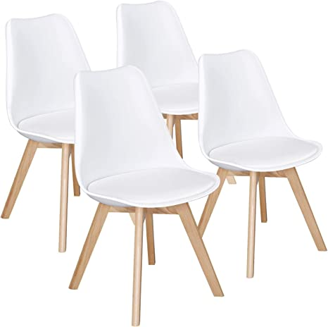 Amazon Com Yaheetech Dining Chairs Pu Side Chair Dsw Chair Accent Shell Chair With Beech Wood Legs Modern Mid Century Eiffel Inspired Chair Upholstered Dining Room Living Room Bedroom Kitchen Chairs White 4pcs Kitchen