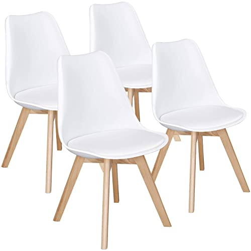 Yaheetech Dining Chairs DSW Chair Shell Lounge PU Side Chair with Beech Wood Legs Modern Mid Century Upholstered Dining Room Living Room Bedroom Kitchen Chairs Tulip Chair White,4Pcs