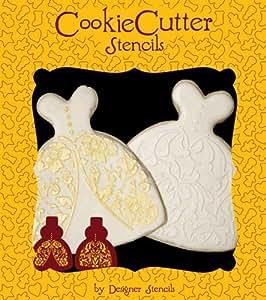 Wedding Dress Cookie Stencil Set (no cutter) by Designer Stencils