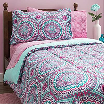 11 Piece Girls Hippie Comforter Full Set, Multi Floral Bohemian Bedding, Teal Blue Purple Pink Floral Prints, Indie Inspired Hippy Spirit, Damask Flowers, Geometric Accents, Beautiful Pattern, Vibrant