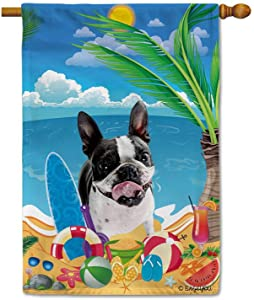 BAGEYOU Hello Summer My Love Dog Boston Terrier on The Beach House Flag Children Toys Lemon Juice Watermelon Flip Flop Tropical Palm Decor Banner for Outside 28X40 Inch Print Double Sided