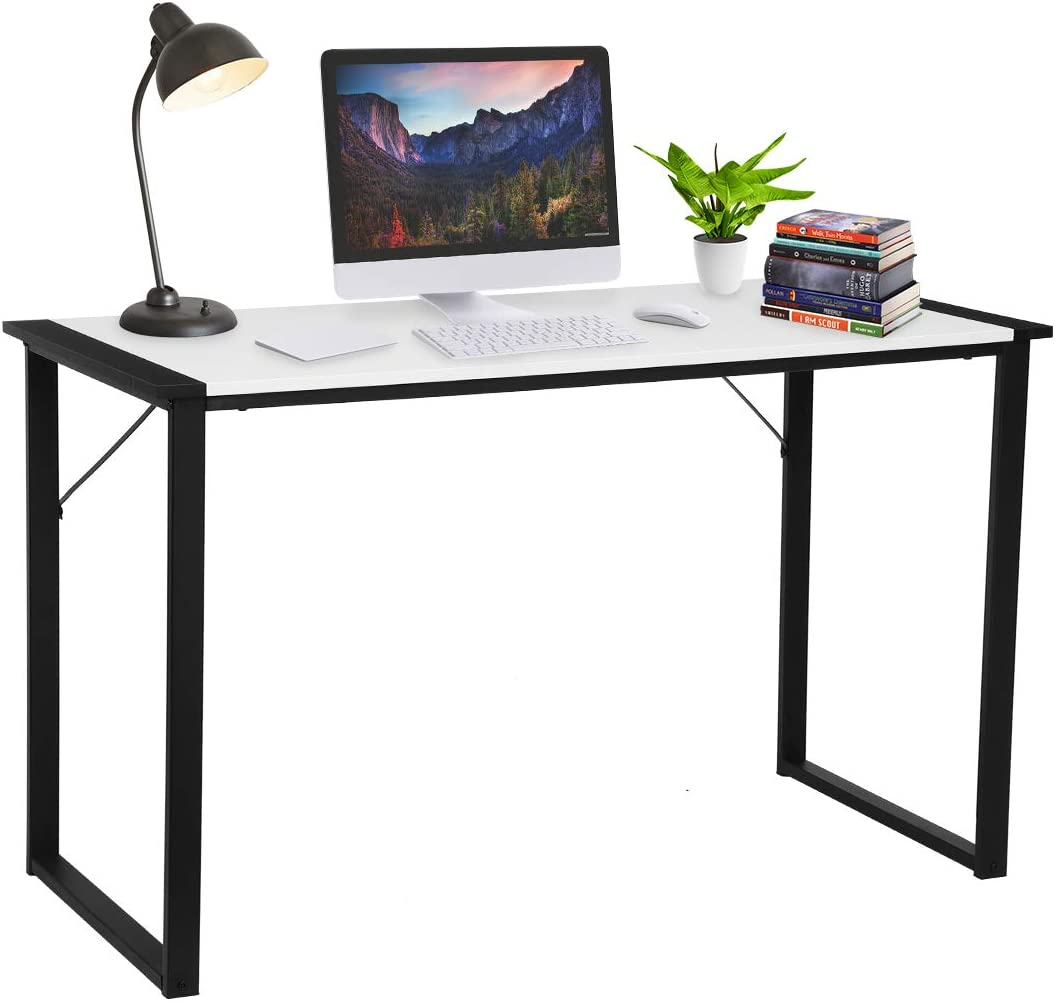 "Computer Desk 47"", KingSo Study Desk for Home Office Modern Simple Design PC Laptop Desk, Wood Notebook Writing Table, Metal Frame Study Desk, (Black)"