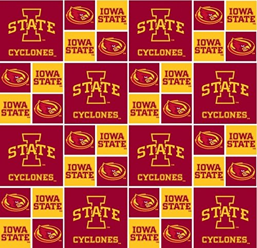 Iowa State Cotton Fabric, Cardinal & Gold - Sold By the ()