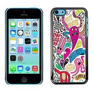 KOKO CASE / Apple Iphone 5C / wallpaper colorful monsters cartoon character / Slim Black Plastic Case Cover Shell Armor