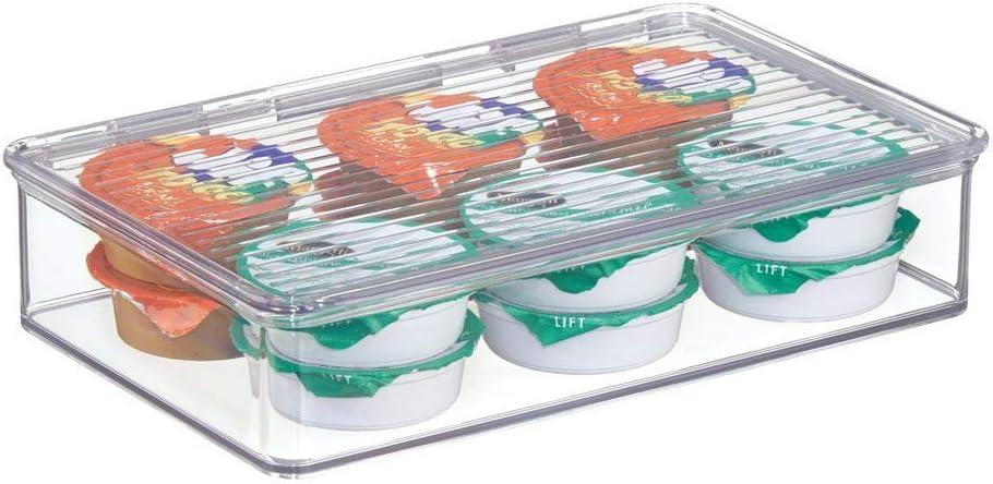 mDesign Fiambrera con tapa para nevera - Recipiente transparente para refrigerador - Envases de plastico para alimentos ideal para comida de bebé - plástico transparente