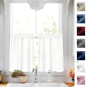 White Tier Curtains Semi Sheer Short Curtains Kitchen Casual Weave Cafe  Curtains Half Window Treatments 2 Panels 36\