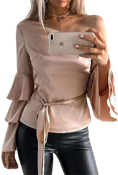 Mujer Camisas Elegantes Volantes Trompeta Manga One Shoulder Blusas Primavera Otoño Fashion Delgado Casual Hermoso Unicolor Tops Shirts Camisas: Amazon.es: ...