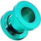 1 Flesh Tunnel Plug Acier à visser Oreille Couleur vert 5 mm Piercing