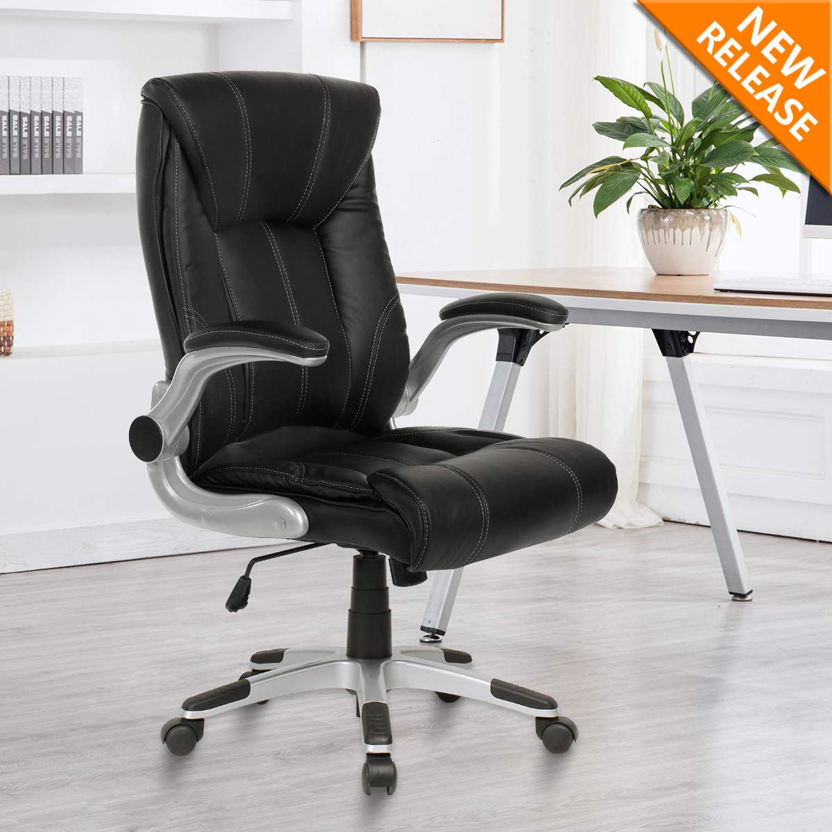 YAMASORO Ergonomic High-Back Executive Office Chair PU Leather Computer Desk Chair with Flip-up Arms and Back Support