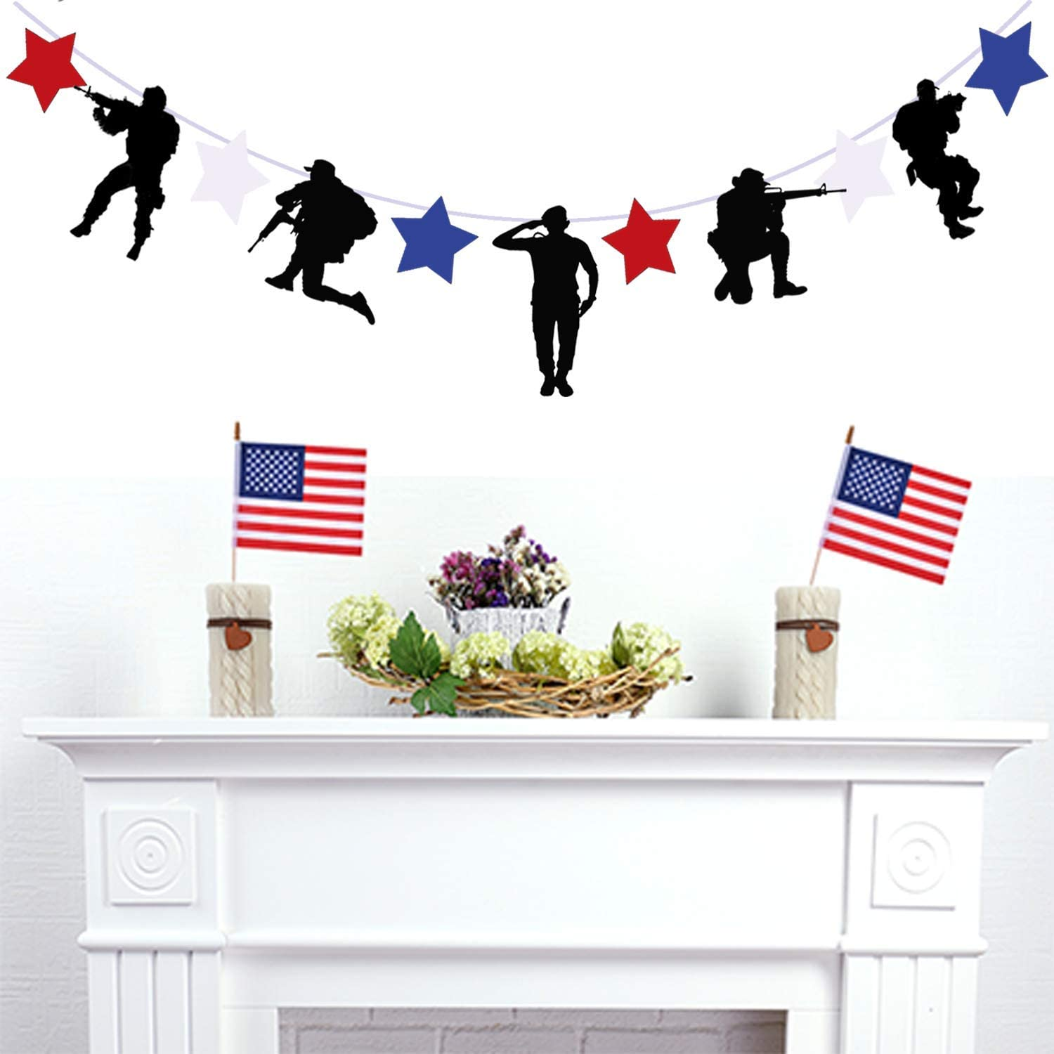 Gz Party Patriotic Soldier Decoration Banner, 4th of July Memorial Day Decoration Supplies,Army Military Camouflage Party Decoration Supplies (Black, 1pc)