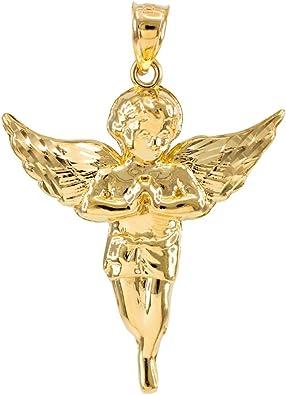 Solid 14K White Gold Little Angel Pendant Charm