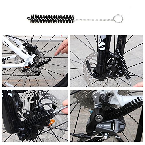 Bike Cleaning Tool Set, 6Pieces Precision Bicycle Cleaning Tool Tarpered Detail Brush Wheel Brush Scraper Bike clean mitt Tire Scrubber Multipurpose Practical and portable for Mountain,BMX Bike by Multi Outools (Image #4)
