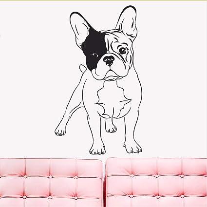 Zlxzlx Mascota Tatuajes De Pared Extraíble Inglés Bulldog Perros Él Cama Decoración Mascotas Tienda Etiqueta De