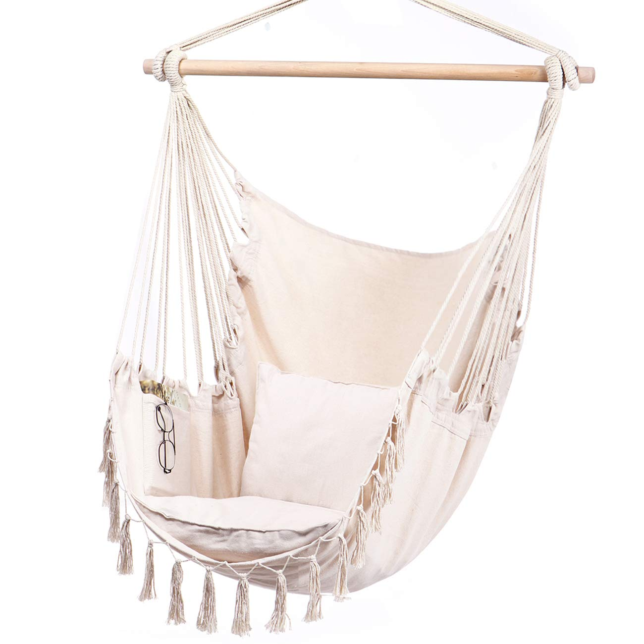 Y- STOP Hammock Chair Hanging Rope Swing-Max 330 Lbs-2 Cushions Included-Large Macrame Hanging Chair with Pocket- Quality Cotton Weave for Superior Comfort Durability Beige