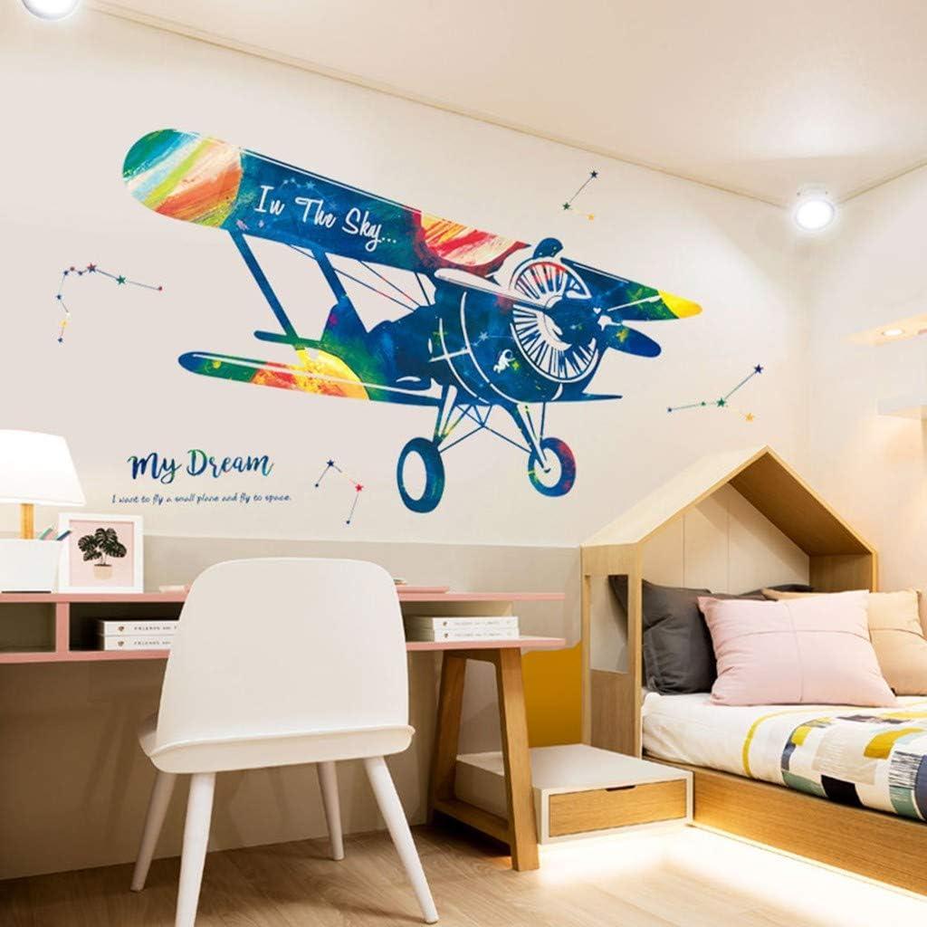 OSYARD Sticker Mural Enfant Papier Peint pour Chambre Décoration PVC Avion  Autocollant