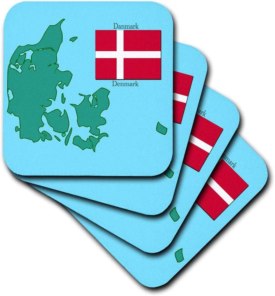 3dRose The Map and Flag of Denmark with Denmark Printed in English and Danish. - Soft Coasters, Set of 8 (CST_37583_2)