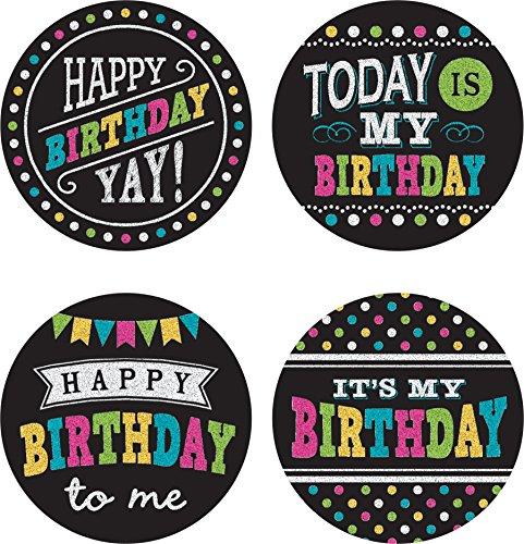 Chalkboard Brights Happy Birthday Wear 'Em Badges]()