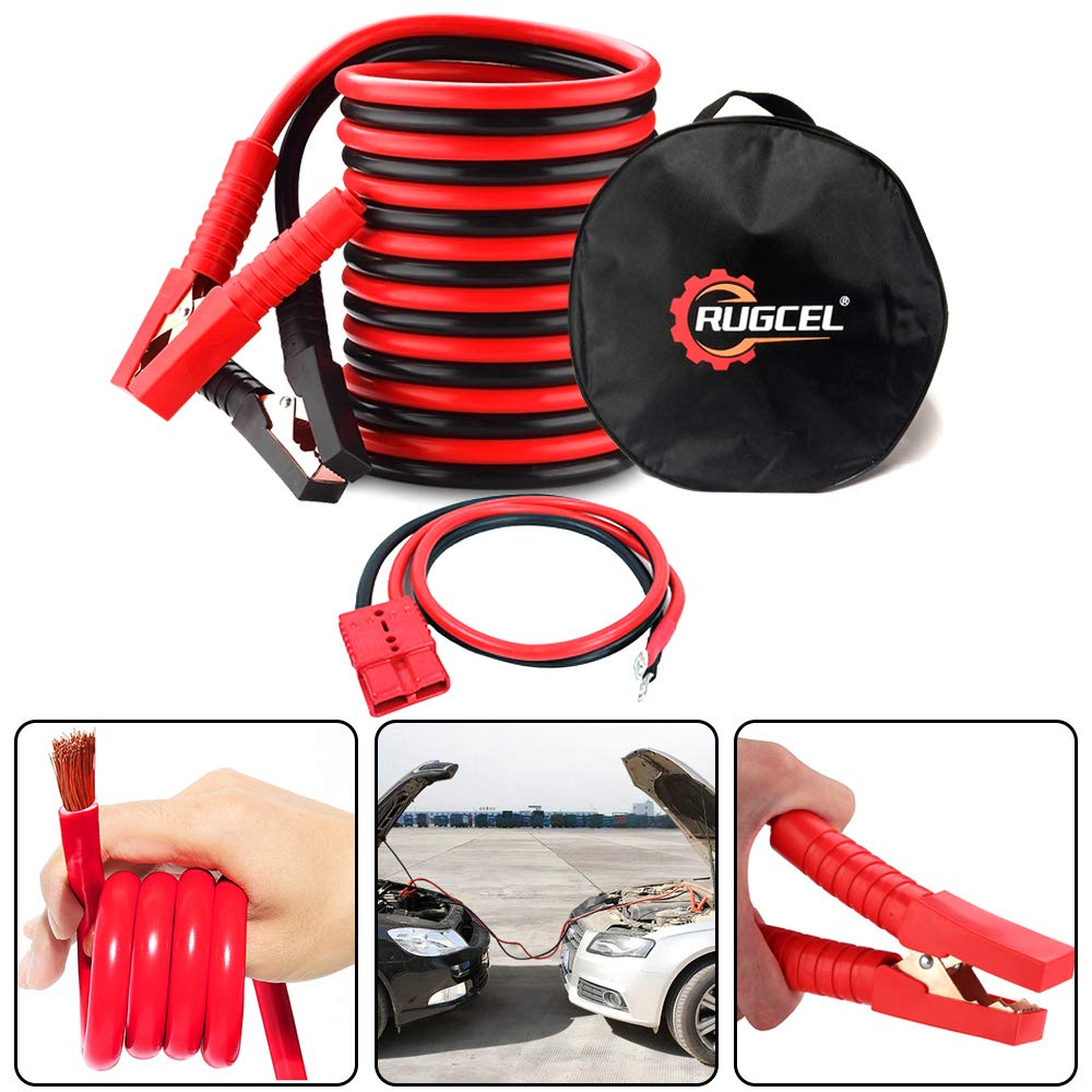 RUGCEL WINCH 4-Gauge Permanent Installation Kit Jumper Battery Cables 12 Ft Booster Jump Start ENB-130-30 Allows You to Boost a Battery from Behind a Vehicle