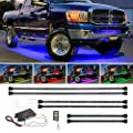 LEDGlow 6pc Million Color Multi-Color Truck LED Underbody Underglow Accent Lighting Kit - 18 Solid Colors - 12 Unique Patterns - Music Mode - Water Resistant - Includes Control Box & Remote