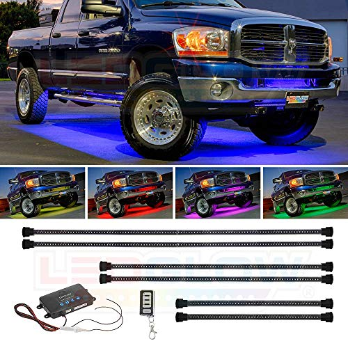 LEDGlow 6pc Million Color Multi-Color Truck LED Underbody Underglow Accent Lighting Kit - 18 Solid Colors - 12 Unique Patterns - Music Mode - Water Resistant - Includes Control Box & Remote (Ground Cab Effects)
