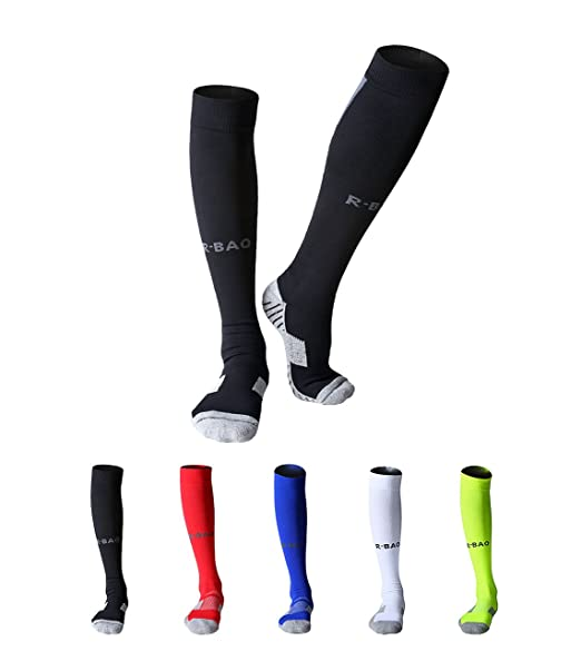 MAIBU Men's 2 Pairs Athletic Socks Soft Cotton Cushioned Compression Football Basketball Running Exercise Socks Black