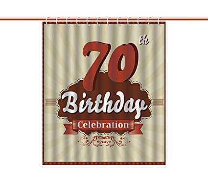 IPrint Unique Shower Curtain 70th Birthday DecorationsVintage Candy Store Inspired 70 Celebration