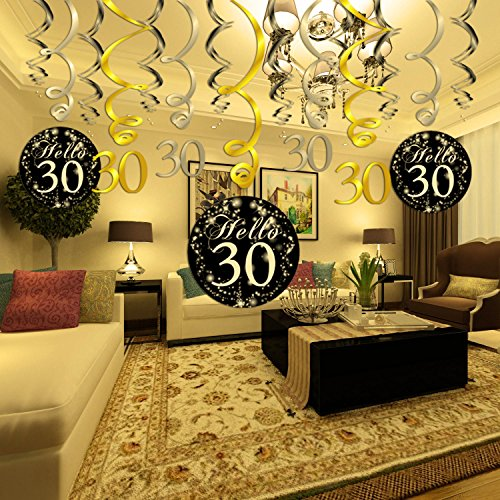 30 Birthday DecorationsKonsait Gold Black Silver Decor 30th Hanging Swirl 15 Counts