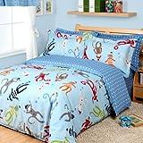 FADFAY Home Textile,Cute Monkey Baby Bedding Set,Unique Blue Based Polka Dot Duvet Sets,Designer Cartoon Monkey Kids Bedclothes