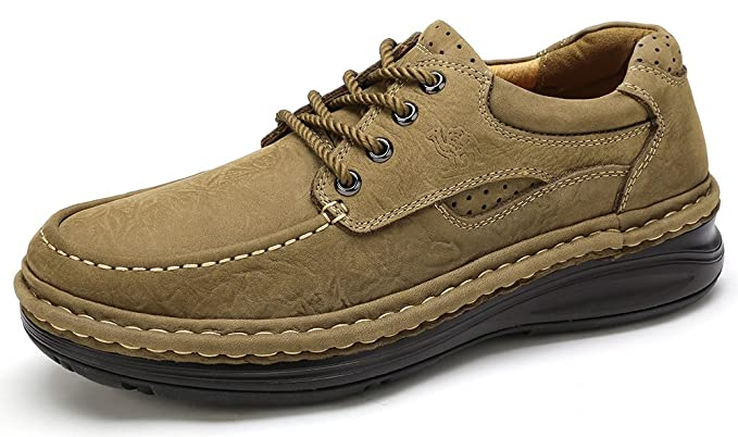 289ea31f515b9 CAMEL CROWN Men's Leather Oxford Casual Lace-up Loafers Non-Slip Walking  Shoes Handmade Comfortable Work Shoes