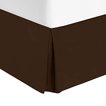Bed Skirt Queen Size Dark Brown Chocolate 100 Luxury Microfiber Double Brushed Dust Ruffle Tailored With Elastic To Cover Bed Legs And Frame