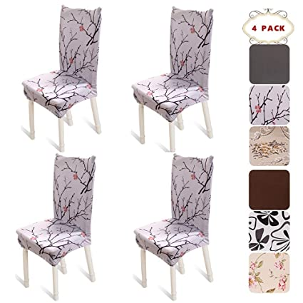 BEKVAMTLife Stretch Dining Room Chair Covers Floral Seat Protector Washable Slipcovers For Parsons