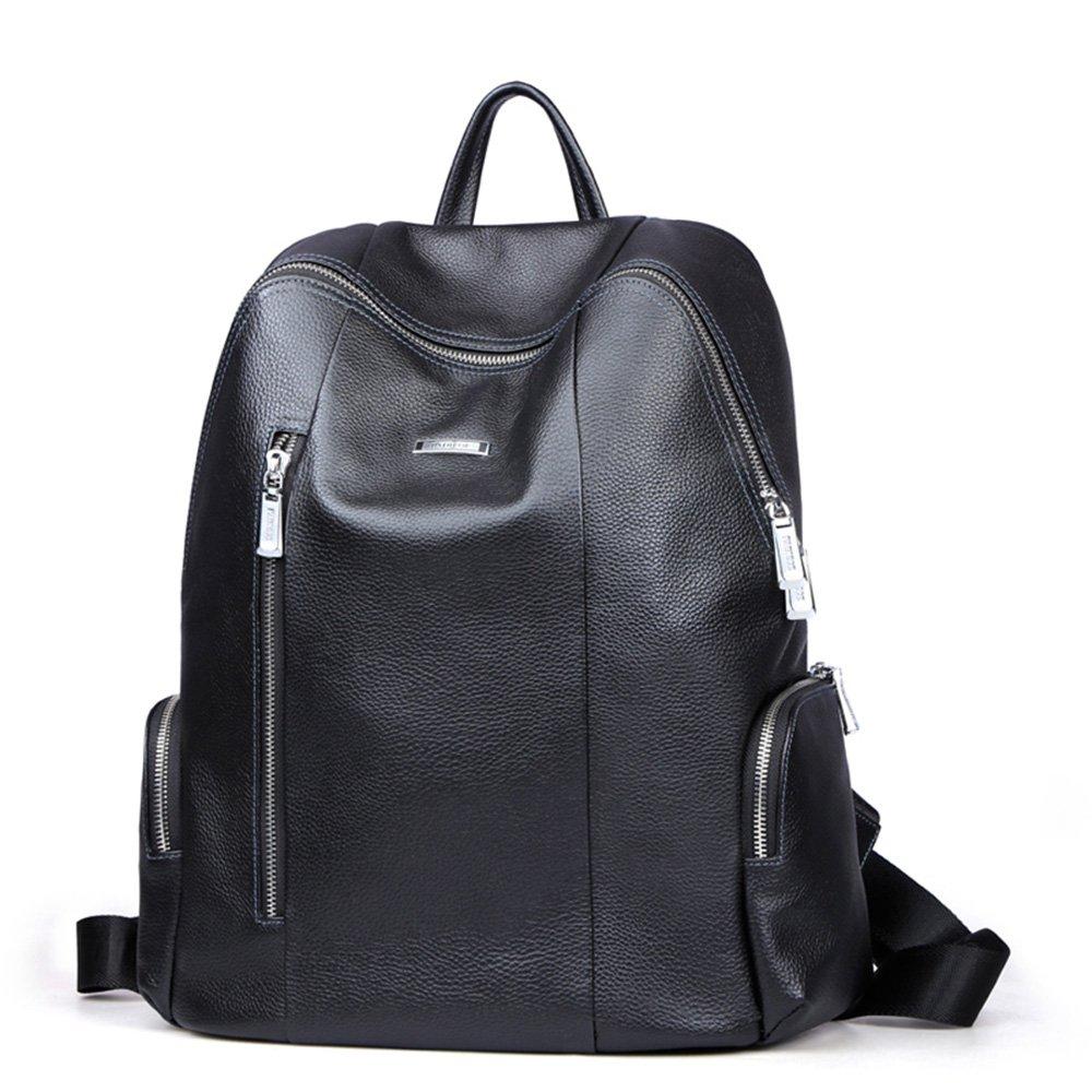 d83aaa0846c4 Padieoe Leather Backpack Rucksack Shoulder School College Travel Laptop Bag  for Men Medium Black  Amazon.co.uk  Luggage