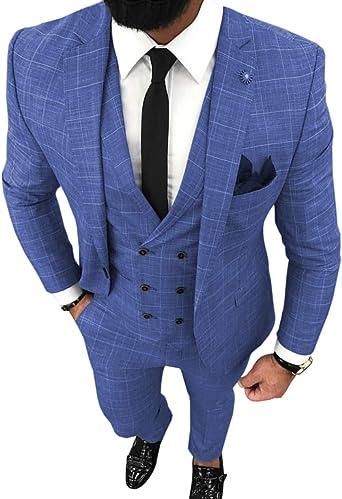 Traje De 3 Piezas Para Hombre Entallado Con Solapa A Cuadros Sólido Tuxedos Para Novios De Boda Blazer Chaleco Pantalones Azul 46eu Chaqueta Pantalones Amazon Es Ropa Y Accesorios