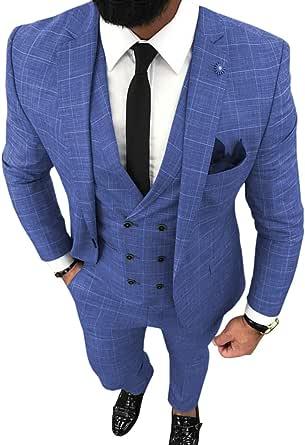 Traje para hombre de 3 piezas, formal, ajustado y con placa ...
