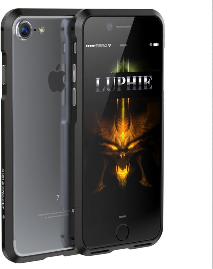 iPhone 7 Coque, iPhone 8 boîtier en métal, Hsiaofe Premium Coques de cadre en aluminium pour Apple iPhone 7 8 11,9 cm, Black