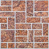 Brown Stone Cut PVC 3D Wall Panels - Interior Design Wall Paneling Decor Commercial and Residential Application, Brick, 3.2' x 1.6'