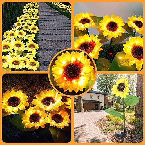 Drfoytg 2PC Solar Sunflower Lights Outdoor Decor, Waterproof Decorative Metal Led Lamp Landscape Spotlight Daisy for Pathway Garden Patio Yard Driveway Pool (2PC, Yellow)