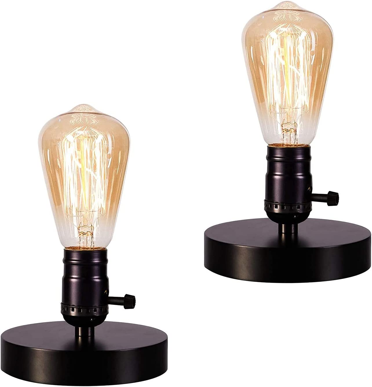 Vintage Table Lamp Base Licperron E26 E27 Industrial Vintage Desk Lamp with Plug in Cord On/Off Switch Bedside Lamp Holder for Home Lighting Decor 2 Pack