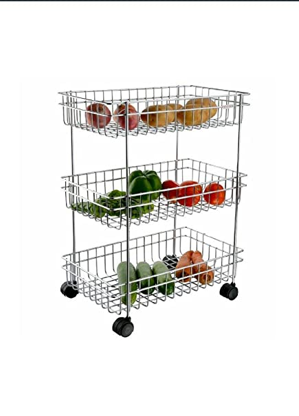 Myspace Fruit & Vegetable Trolley Rack, Rectangle, 3-Tier, 23x41x63 cms, Stainless Steel (Multipurpose Kitchen Storage Rack to Store Daily Use Vegetables and Fruits).