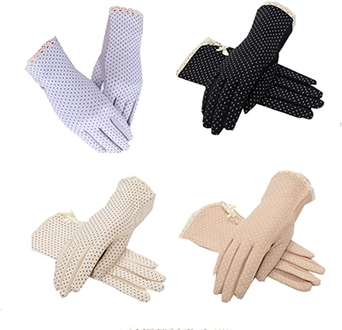 Vintage Style Gloves- Long, Wrist, Evening, Day, Leather, Lace 4 Pairs Summer/Autumn women Dots Sun Uv Protection Cotton Sun Protection Lace Anti-skid Driving Gloves Multicoloured Medium $16.99 AT vintagedancer.com