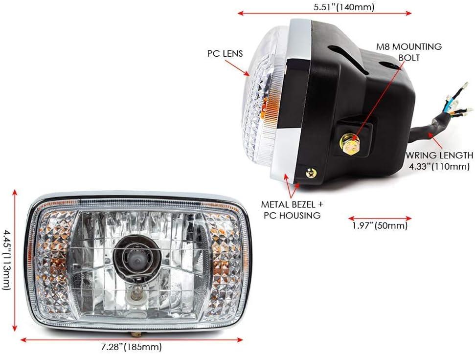 Black Rectangular 12V Motorbike Headlight with inbuilt indicators Homologated//E marked