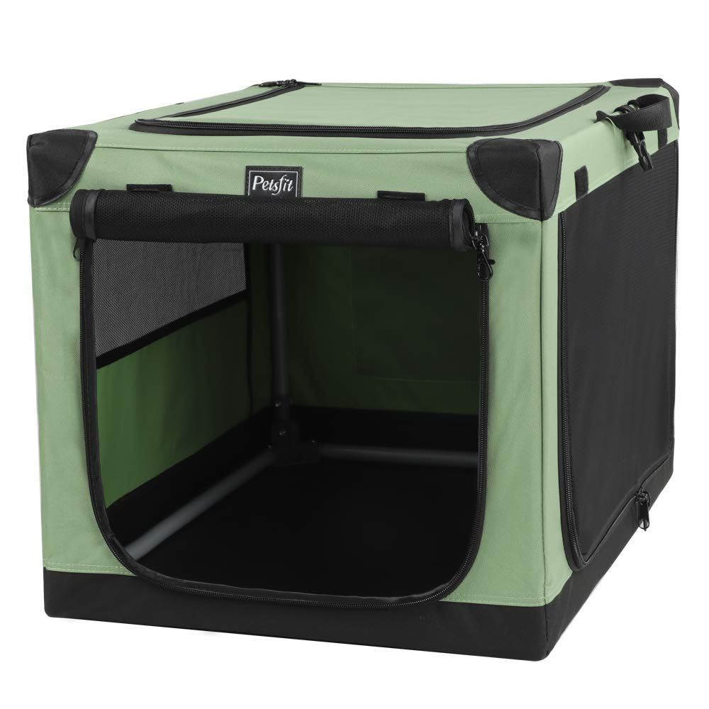 Petsfit Travel Pet Home, Indoor and Outdoor Crate for Large Dog Green 42 x 28 x 28 Inches