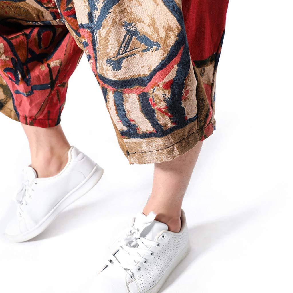 wodceeke Fashion Men's Printed Vintage Cotton Blends Linen Drop Crotch Jogging Harem Pants Yoga Trouser (L, Brown) by wodceeke (Image #7)