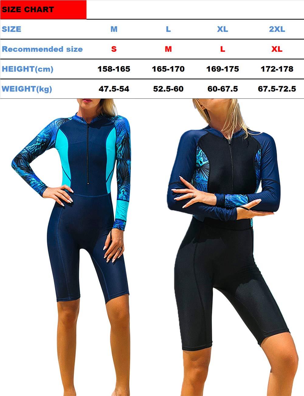 besbomig Traje de Surf para Mujer Full Body Wetsuit Traje de Buceo Manga Larga Playa Anti-UV Quick Drying Traje de ba/ño Snorkeling Buceo