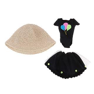 Baoblaze Gonna aglietta Cappello Abbigliamenti Costumo Miniature Regalo Natale per Bambola - Nero