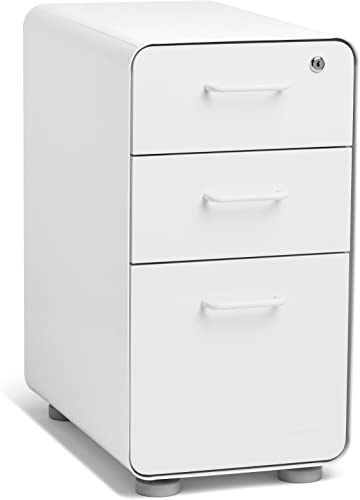 Poppin White Slim Stow 3-Drawer File Cabinet