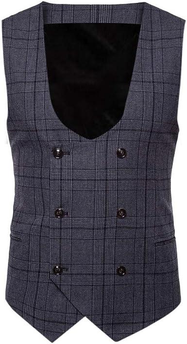 ALIKEEY Hombres Chaqueta De Abrigo Sin Mangas Estampado Plaid Button Casual Chaleco Blusa Traje Británico Vestir Fiesta Gemelos Cuadros: Amazon.es: Ropa y accesorios